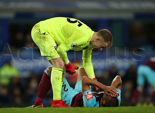 29th November 2017, Goodison Park, Liverpool, England; EPL Premier League Football, Everton versus West Ham United; Joe Hart, West Ham United goalkeeper leans over the prone Winston Reid of West Ham United after he suffers a blow to the head challenging for a header