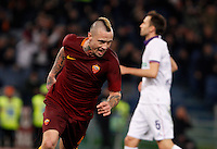 Calcio, Serie A: Roma vs Fiorentina. Roma, stadio Olimpico, 7 febbraio 2017.<br /> Roma's Radja Nainggolan celebrates after scoring during the Italian Serie A soccer match between Roma and Fiorentina at Rome's Olympic stadium, 7 February 2017.<br /> UPDATE IMAGES PRESS/Riccardo De Luca