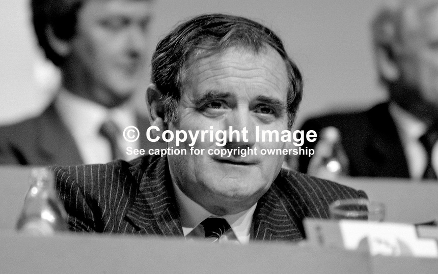 Gene Fitzgerald, MEP, Fianna Fail, Rep of Ireland, platform, Ard Fheis, Dublin, 19880204GF.<br /> <br /> Copyright Image from Victor Patterson,<br /> 54 Dorchester Park, <br /> Belfast, UK, BT9 6RJ<br /> <br /> t1: +44 28 9066 1296 (from Rep of Ireland 048 9066 1296)<br /> t2: +44 28 9002 2446 (from Rep of Ireland 048 9002 2446)<br /> <br /> m: +44 7802 353836<br /> <br /> e: victorpatterson@me.com<br /> www.victorpatterson.com<br /> <br /> Please see my Terms and Conditions of Use at www.victorpatterson.com. It is IMPORTANT that you familiarise yourself with them.<br /> <br /> Images used on the Internet must be visibly watermarked i.e. &copy; Victor Patterson<br /> within the body of the image and copyright metadata must not be deleted. Images <br /> used on the Internet have a size restriction of 4kbs and will be chargeable at current<br />  NUJ rates unless agreed otherwise.<br /> <br /> This image is only available for the use of the download recipient i.e. television station, newspaper, magazine, book publisher, etc, and must not be passed on to any third <br /> party. It is also downloaded on condition that each and every usage is notified within 7 days to victorpatterson@me.com<br /> <br /> The right of Victor Patterson to be identified as the author is asserted in accordance with The Copyright Designs And Patents Act (1988). All moral rights are asserted.