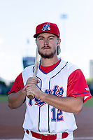Stockton Ports outfielder Austin Beck (12) poses for a photo before a game against the San Jose Giants at Banner Island Ballpark on April 9, 2019 in Stockton, California. (Zachary Lucy/Four Seam Images)
