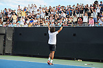 Skander Mansouri of the Wake Forest Demon Deacons celebrates with the crowd after his win against the Ohio State Buckeyes at #3 singles during the 2018 NCAA Men's Tennis Championship at the Wake Forest Tennis Center on May 22, 2018 in Winston-Salem, North Carolina.  The Demon Deacons defeated the Buckeyes 4-2. (Brian Westerholt/Sports On Film)