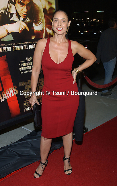 "Sonia Braga arriving at the "" 21 Grams Premiere "" at the Academy of Motion Pictures, Arts and Science in Los Angeles. November 6, 2003."
