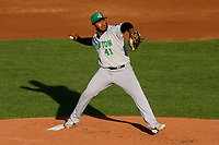 Clinton LumberKings starting pitcher Alberto Guerrero (41) delivers a pitch during a Midwest League game against the Wisconsin Timber Rattlers on June 20, 2019 at Fox Cities Stadium in Appleton, Wisconsin. Wisconsin defeated Clinton 5-2. (Brad Krause/Four Seam Images)