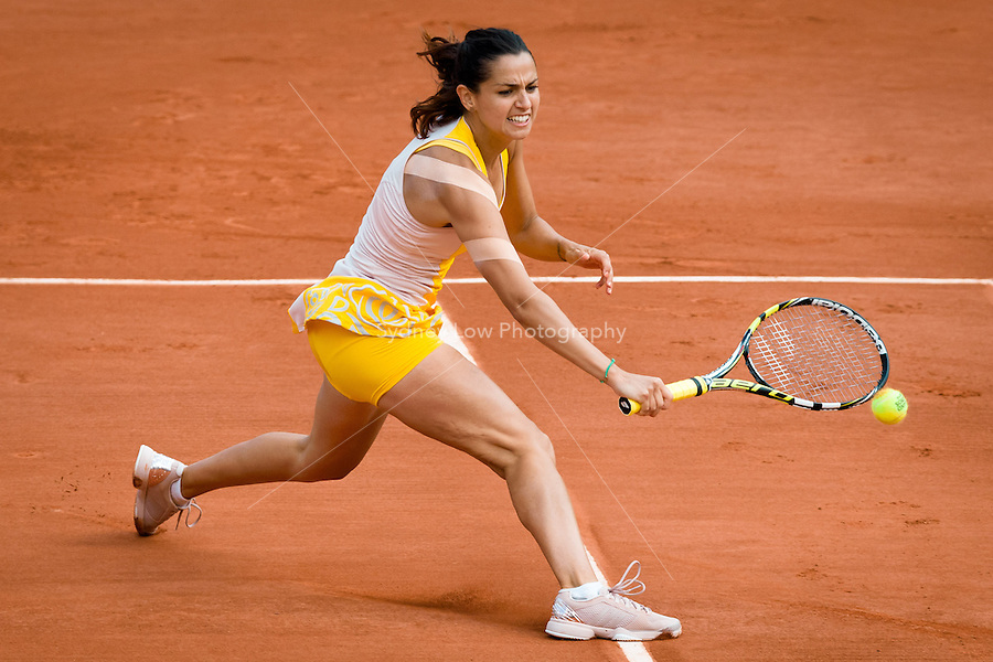 May 27, 2015: Amandine Hesse of France in action in a 2nd round match against Samantha Stosur of Australia on day four of the 2015 French Open tennis tournament at Roland Garros in Paris, France. Sydney Low/AsteriskImages