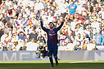 Lionel Andres Messi of FC Barcelona celebrates scoring the second goal for the team during the La Liga 2017-18 match between Real Madrid and FC Barcelona at Santiago Bernabeu Stadium on December 23 2017 in Madrid, Spain. Photo by Diego Gonzalez / Power Sport Images