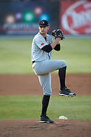 Hickory Crawdads starting pitcher Grant Wolfram (36) in action against the Piedmont Boll Weevils at Kannapolis Intimidators Stadium on May 3, 2019 in Kannapolis, North Carolina. The Boll Weevils defeated the Crawdads 4-3. (Brian Westerholt/Four Seam Images)