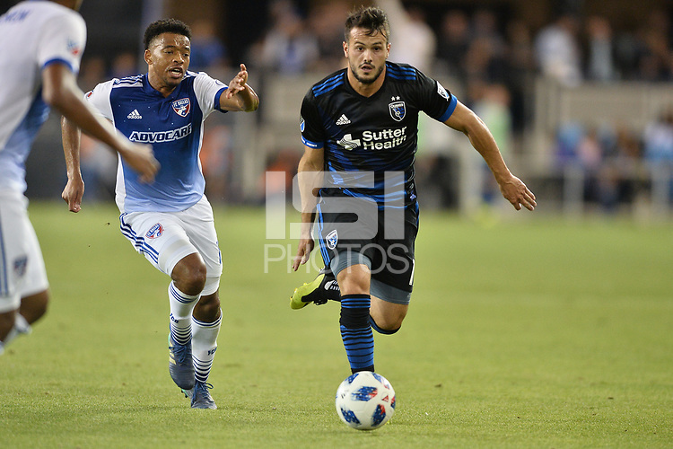 San Jose, CA - Wednesday August 29, 2018: Vako during a Major League Soccer (MLS) match between the San Jose Earthquakes and FC Dallas at Avaya Stadium.