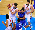 French national basketball team player Noah Joakim fights for the ball with Pau Gasol And Marc Gasol,  during final Eurobasket 2011 game between Spain and France in Kaunas, Lithuania, Sunday, September 18, 2011. (photo: Pedja Milosavljevic)