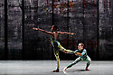 Rambert presents RAMBERT EVENT, by Merce Cunningham, at Sadler's Wells. Choreography by Merce Cunningham, staging by Jeannie Steele, Music by Philip Selway, Quinta and Adem Ilhan, designs inspired by Gerhard Richter's 'Cage' series, performed by Rambert. The dancers are: Kym Sojourna, Alex Souillere.