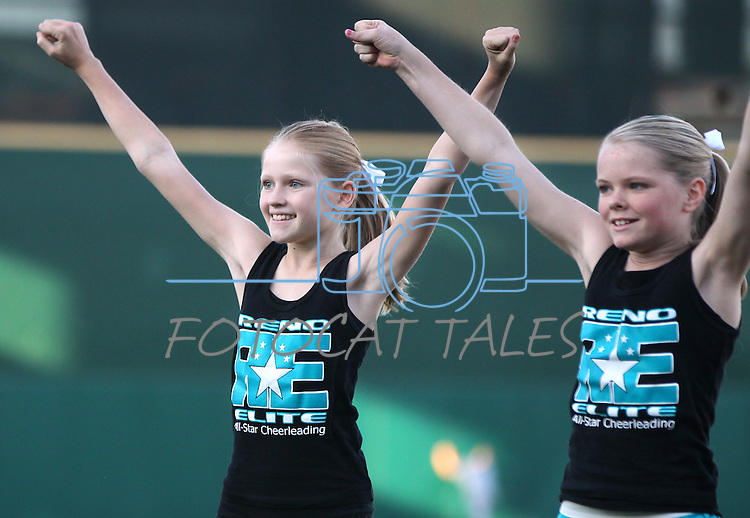 Members of the Reno Elite cheer squad perform before the Reno Aces minor league baseball game in Reno, Nev., on Saturday, Sept. 3, 2011..Photo by Cathleen Allison