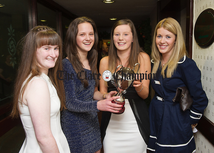 Laura Browne, Aoibhinn Duggan, Louise Browne and Sheila Daffy at the Clare Camogie annual awards night in the West County Hotel. Photograph by John Kelly.