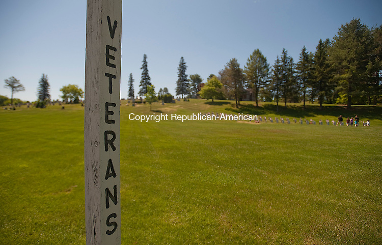 WINSTED, CT 27 MAY 2013--052713JS13- A sign at Forest View Cemetery in Winsted, directs visitors to the Veterans section. Many people stopped by on Monday to pay their respects. .Jim Shannon Republican American