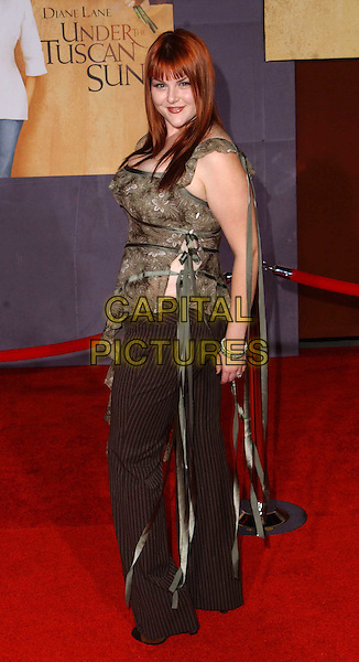 SARA RUE.Under The Tuscan Sun L.A. premiere, El Capitan Theatre.full length, full-length, asymmetric dress, floral, flowery pattern, olive green, ribbons, pinstripe trousers, lace-up, tie-up.www.capitalpictures.com.sales@capitalpictures.com.©Capital Pictures.