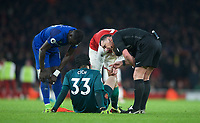 Petr Cech of Arsenal receives treatment before going off injured during the Premier League match between Arsenal and Everton at the Emirates Stadium, London, England on 3 February 2018. Photo by Andrew Aleksiejczuk / PRiME Media Images.