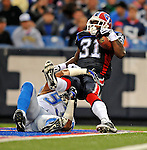 28 August 2008:  Buffalo Bills' running back Dwayne Wright (31) is tackled by Detroit Lions defensive end Corey Smith (93) at Ralph Wilson Stadium in Orchard Park, NY. The Lions defeated the Bills 14-6 in their fourth and final pre-season game...Mandatory Photo Credit: Ed Wolfstein Photo