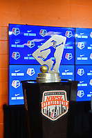 Houston, TX - Saturday Oct. 08, 2016: NWSL Championship Trophy during a press conference prior to the National Women's Soccer League (NWSL) Championship match between the Washington Spirit and the Western New York Flash at Houston Sports Park.