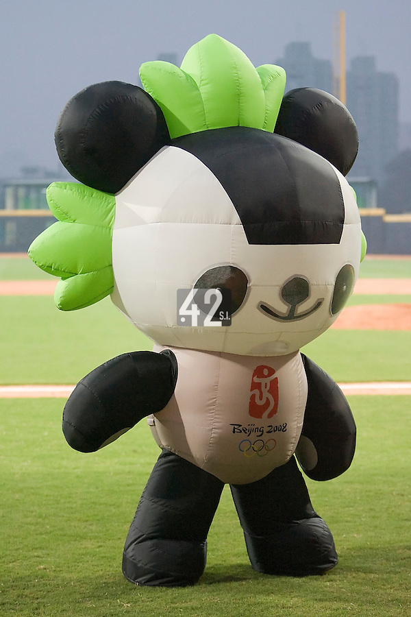 20 August 2007: Beijing 2008 mascott is seen during the Czech Republic 6-1 victory over France in the Good Luck Beijing International baseball tournament (olympic test event) at the Wukesong Baseball Field in Beijing, China.