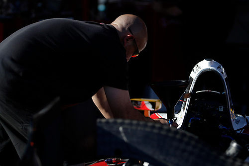 26-27 February, 2016, Avondale, Arizona USA<br /> Andretti garage, crewman at work on Carlos Munoz' car<br /> ©2016, Phillip Abbott<br /> LAT Photographic