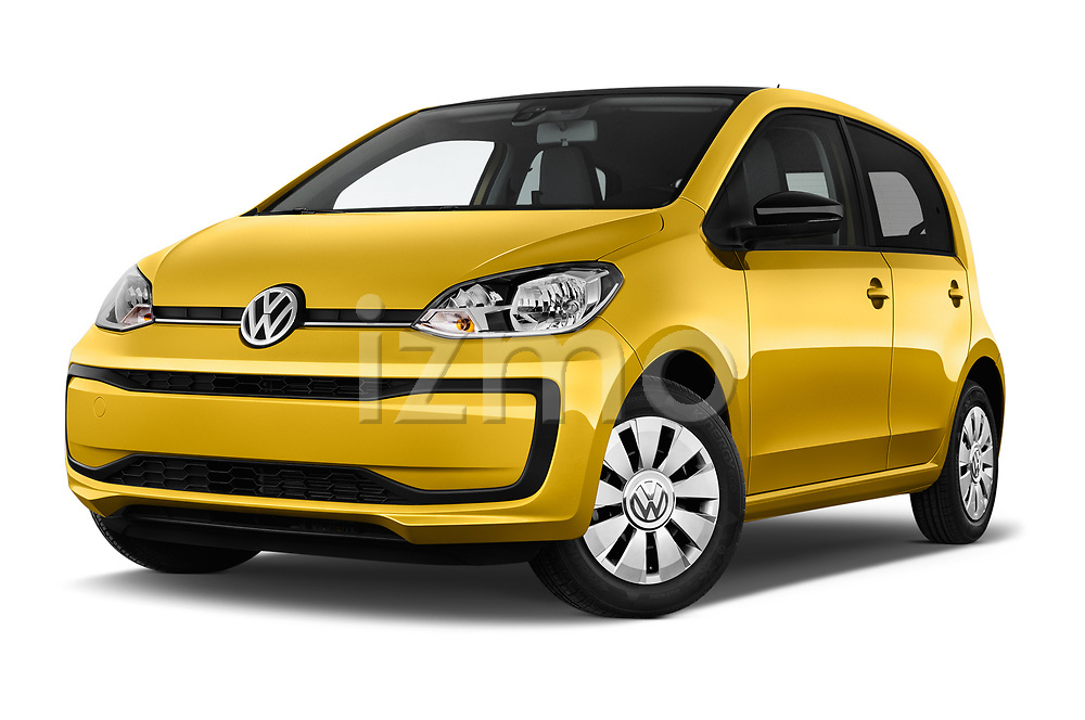 Stock pictures of low aggressive front three quarter view of 2017 Volkswagen UP Move-up 5 Door Hatchback Low Aggressive