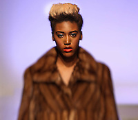models are walking for designer luxury outerwear at Couture Fashion Week  at Crown Plaza Times Square during New York Fashion Week F/W 17