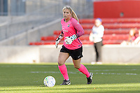 Bridgeview, IL, USA - Sunday, May 29, 2016: Sky Blue FC goalkeeper Caroline Stanley (18) during a regular season National Women's Soccer League match between the Chicago Red Stars and Sky Blue FC at Toyota Park. The game ended in a 1-1 tie.