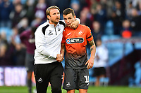 Bjorn Hamberg, assistant coach for Swansea speaks to Bersant Celina of Swansea City at full time of the Sky Bet Championship match between Aston Villa and Swansea City at Villa Park in Birmingham, England, UK.  Saturday 20 October  2018