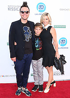 UNIVERSAL CITY, CA, USA - SEPTEMBER 30: Mark Hoppus, Jack Hoppus, Skye Everly arrive at LA's Promise Gala 2014 held at the Globe Theatre at Universal Studios on September 30, 2014 in Universal City, California, United States. (Photo by Xavier Collin/Celebrity Monitor)
