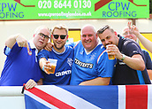 June 17th 2017, Gander Green Lane, Sutton, England; Football Charity Match; Chelsea Legends versus Rangers Legends; Rangers fans enjoy a beer during the match