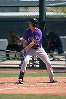 Colorado Rockies right fielder Jordan Patterson (48) during a Minor League Spring Training game against the Chicago Cubs at Sloan Park on March 27, 2018 in Mesa, Arizona. (Zachary Lucy/Four Seam Images)