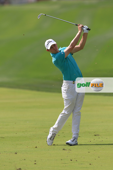 Matthew Fitzpatrick (ENG) on the 1st fairway during Round 4 of the Omega Dubai Desert Classic, Emirates Golf Club, Dubai,  United Arab Emirates. 27/01/2019<br /> Picture: Golffile | Thos Caffrey<br /> <br /> <br /> All photo usage must carry mandatory copyright credit (&copy; Golffile | Thos Caffrey)
