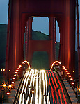 The morning commute over the Golden Gate bridge was lit with north and south bound traffic in San Francisco, California..