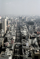 Tokyo: Ginza panorama from observation deck, Kasumigaseki Building. (Japan's Cabinet Ministry offices).  Photo  '81.