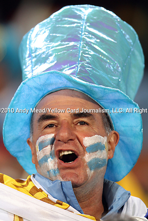 16 JUN 2010:  A Uruguay fan in the stands.  The South Africa National Team played the Uruguay National Team at Loftus Versfeld Stadium in Tshwane/Pretoria, South Africa in a 2010 FIFA World Cup Group A match.