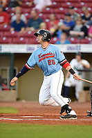 Cedar Rapids Kernels catcher Mitch Garver (25) at bat during a game against the Quad Cities River Bandits on August 19, 2014 at Perfect Game Field at Veterans Memorial Stadium in Cedar Rapids, Iowa.  Cedar Rapids defeated Quad Cities 5-3.  (Mike Janes/Four Seam Images)