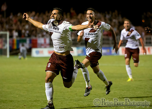 Sacramento Republic Football Club's Rodrigo Lopez (8) celebrates his third goal on a penalty to go ahead 3-2 during the second half as Republic FC hosts LA Galaxy II in the second round of the USL Pro playoff at Bonney Field, Saturday September 20, 2014. Sacramento Republic Football Club won the game 3-2.<br /> Brian Baer/Special to the Bee (Brian Baer/sabeephotos@sacbee.com)