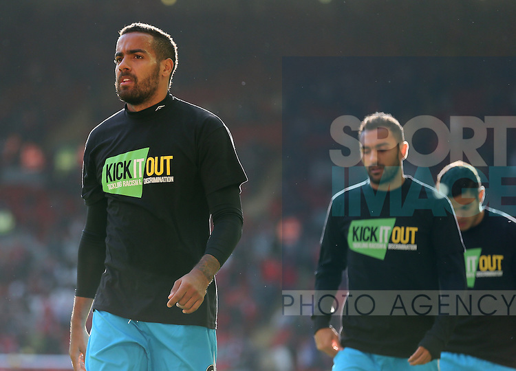 Tom Huddlestone of Hull City wears a Kick it out t-shirt during the warm up - Barclays Premier League - Liverpool vs Hull City - Anfield Stadium - Liverpool - England - 25th October 2014  - Picture Simon Bellis/Sportimage