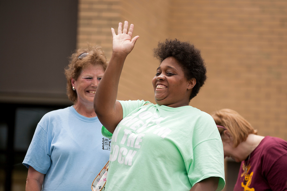 "Community organizers greet members at lunch during ""Circle the City with Service,"" the Kiwanis Circle K International's 2015 Large Scale Service Project, on Wednesday, June 24, 2015, in Indianapolis. (Photo by James Brosher)"
