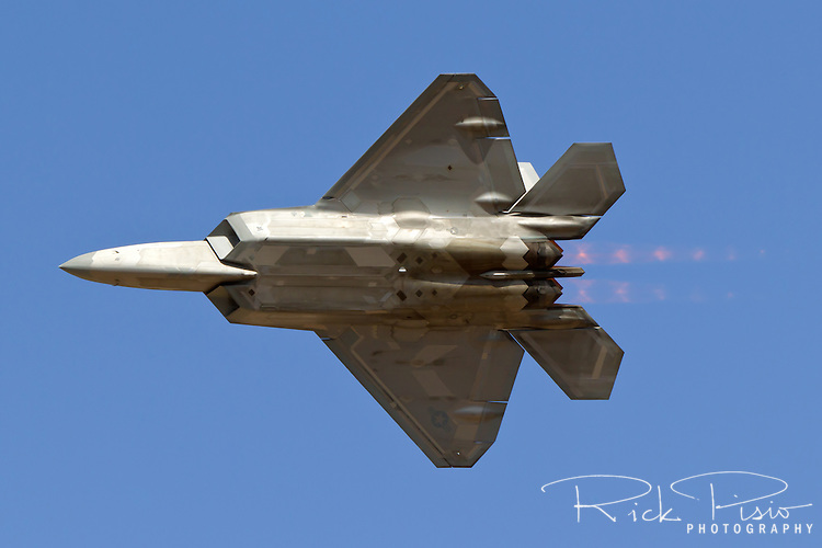 F-22 Raptor in afterburner. The F-22 Raptor first entered service in 2005 after 20 years of development. In December of 2011 the 195th, and final, F-22 Raptor rolled off the Lockheed assembly line.