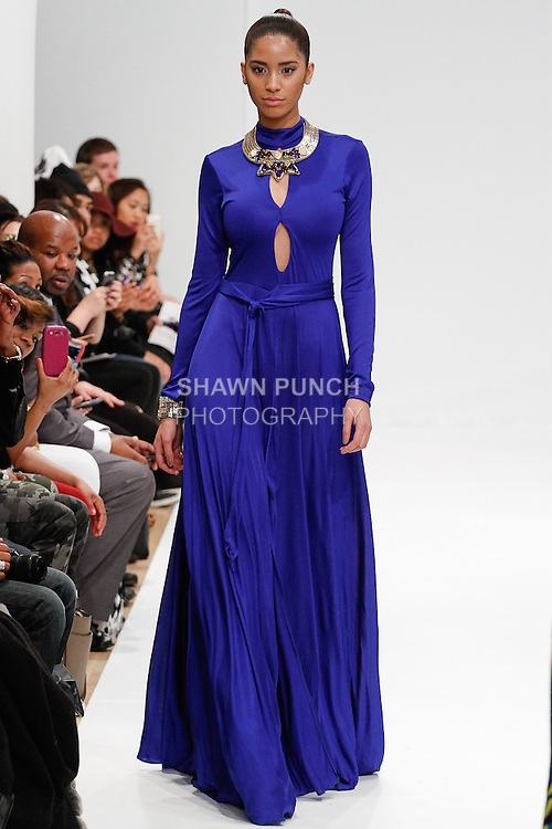 Model walks runway in an outfit from the Briana Dione Fall Winter 2014 collection, for Designer's Premier Fall Winter 2014, during New York Fashion Week Fall 2014, February 9, 2014.