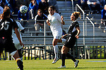 03 DEC 2011: Ashley Botts (4) of Grand Valley State University heads the ball during the Division II Women's Soccer Championship held at the Ashton Brosnaham Soccer Complex in Pensacola, FL.  Saint Rose defeated Grand Valley State 2-1 to win the national title.  Stephen Nowland/NCAA Photos