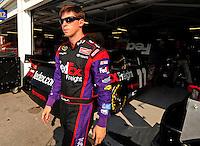 Sept. 26, 2008; Kansas City, KS, USA; Nascar Sprint Cup Series driver Denny Hamlin during qualifying for the Camping World RV 400 at Kansas Speedway. Mandatory Credit: Mark J. Rebilas-