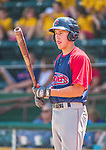 8 July 2014: Lowell Spinners outfielder Bryan Hudson on deck against the Vermont Lake Monsters at Centennial Field in Burlington, Vermont. The Lake Monsters rallied in the 9th inning to defeat the Spinners 5-4 in NY Penn League action. Mandatory Credit: Ed Wolfstein Photo *** RAW Image File Available ****