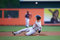 Tri-City ValleyCats outfielder Johnny Sewald (33) slides into second during a game against the Aberdeen Ironbirds on August 6, 2015 at Ripken Stadium in Aberdeen, Maryland.  Tri-City defeated Aberdeen 5-0 in a combined no-hitter.  (Mike Janes/Four Seam Images)