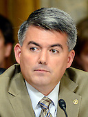 """United States Senator Cory Gardner (Republican of Colorado) questions the witnesses during testimony before the United States Senate Committee on Foreign Relations concerning """"Sanctions and the Joint Comprehensive Plan of Action (JCPOA)"""" on Capitol Hill on Wednesday, July 29, 2015.<br /> Credit: Ron Sachs / CNP"""