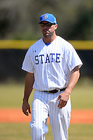 South Dakota State JackRabbits pitching coach Ben Norton (40) during a game against the Maine Black Bears at South County Regional Park on March 9, 2014 in Port Charlotte, Florida.  Maine defeated South Dakota 5-4.  (Mike Janes/Four Seam Images)
