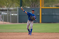 Chicago Cubs shortstop Aramis Ademan (11) makes a throw to first base during a Minor League Spring Training game against the Oakland Athletics at Sloan Park on March 13, 2018 in Mesa, Arizona. (Zachary Lucy/Four Seam Images)
