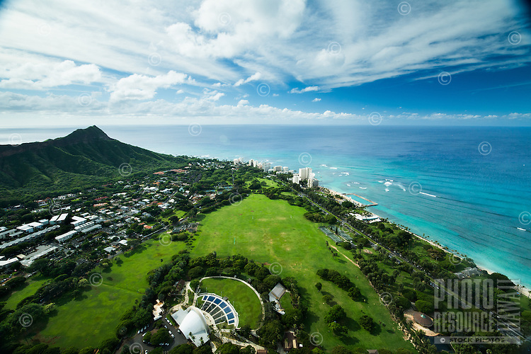 The Waikiki Shell at Kapi'olani Regional Park, with Diamond Head Crater on the left, East O'ahu.