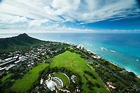 The Waikiki Shell at Kapi'olani Regional Park, with Diamond Head Crater on the left, East O'ahu.
