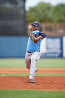 Tampa Bay Rays pitcher Taj Bradley (20) delivers a pitch during a Florida Instructional League game against the Baltimore Orioles on October 1, 2018 at the Charlotte Sports Park in Port Charlotte, Florida.  (Mike Janes/Four Seam Images)