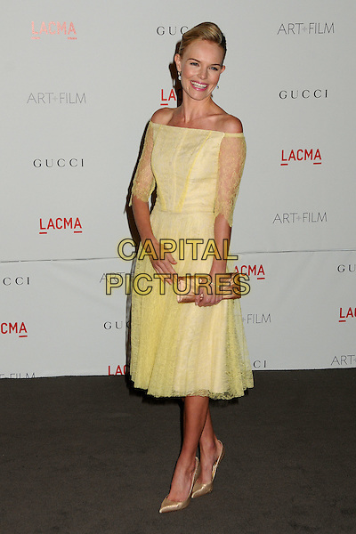 Kate Bosworth.The Inaugural Art and Film Gala held at LACMA in Los Angeles, California, USA..November 5th, 2011.full length yellow dress off the shoulder lace beige shoes clutch bag gold.CAP/ADM/BP.©Byron Purvis/AdMedia/Capital Pictures.